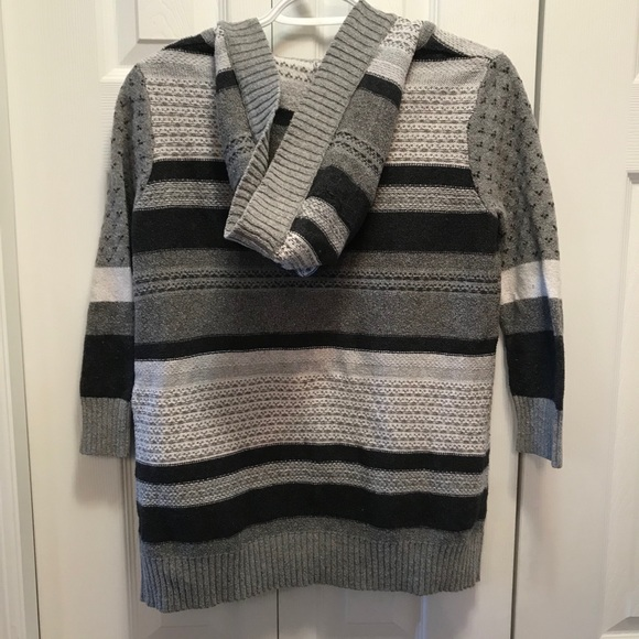 If It Were Me Striped Grey Knit Hooded Cardigan